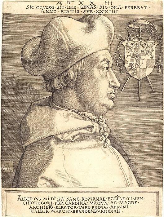 Cardinal Albrecht of Brandenburg (Large Cardinal). Durer Engravings