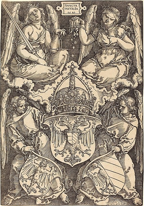 Coat of Arms of the German Empire and the city of Nuremberg. Durer Engravings