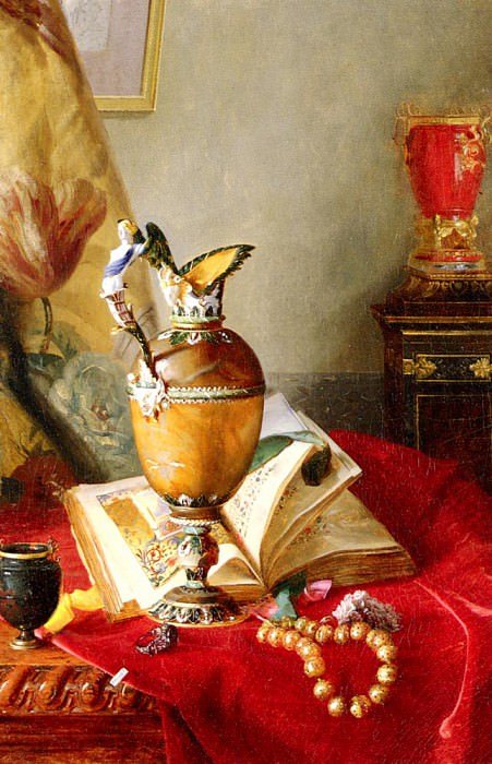 A Still Life With Urns And Illuminated manuscript On A Draped Table. Alexandre Blaise Desgoffe