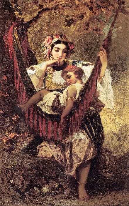 Мать и дитя. Нарсис Виргилио Диас де ла Пенья
