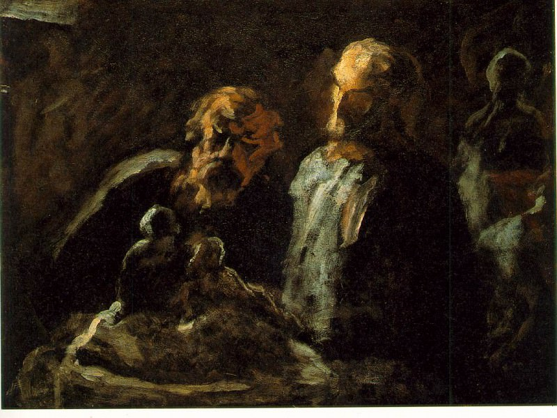 Two sculptors, Undated, Oil on wood, 11 x 14 in The. Honore Daumier