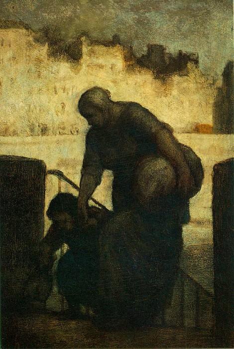 Laveuse au Quai dAnjou, c. 1860 Oil on wood panel,. Honore Daumier