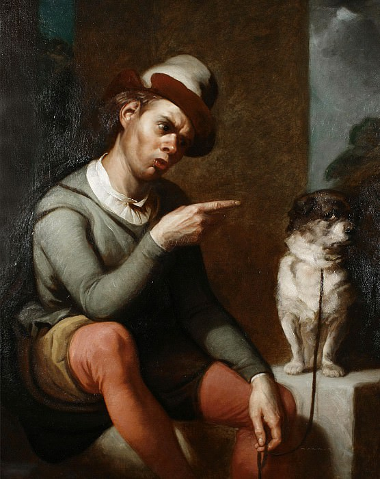 Launce and his dog Crab, from Two Gentlemen of Verona. Thomas Francis Dicksee