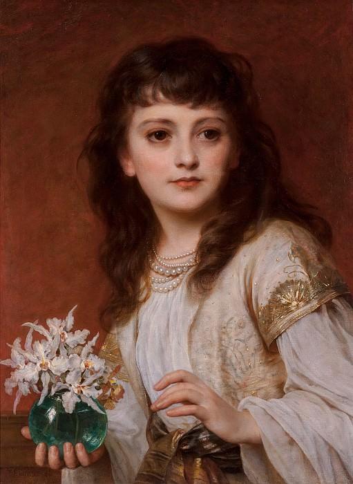 Юная красавица с вазой орхидей. Томас Фрэнсис Дикси