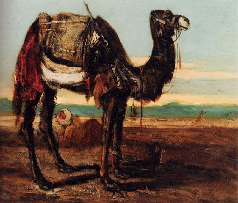 A Bedouin And A Camel Resting In A Desert Landscape. Alexandre-Gabriel Decamps
