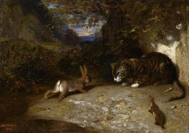 Cat, Weasel, and Rabbit. Alexandre-Gabriel Decamps