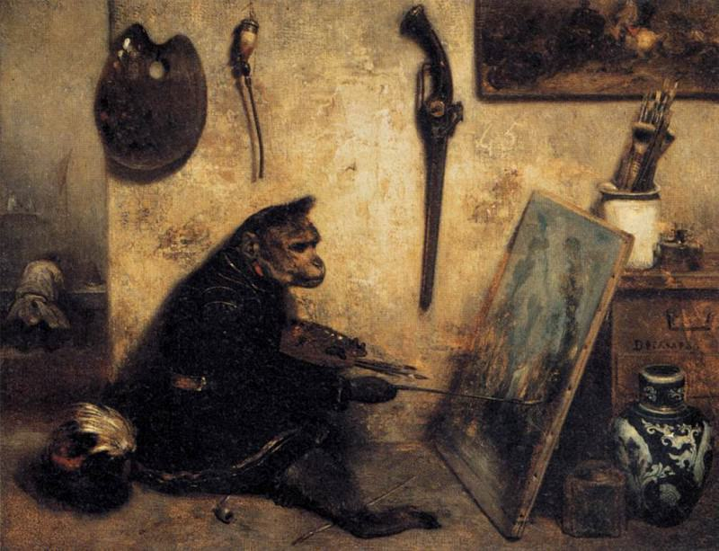 The Monkey Painter. Alexandre-Gabriel Decamps