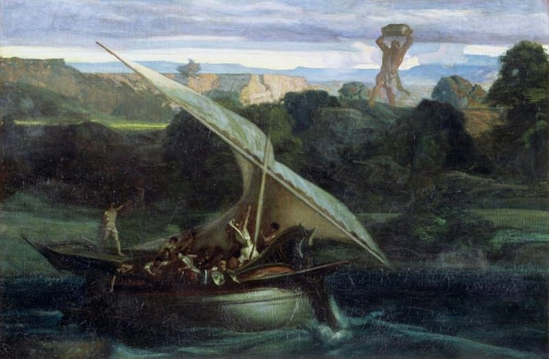 Polyphemus attacking sailors in their boat. Alexandre-Gabriel Decamps