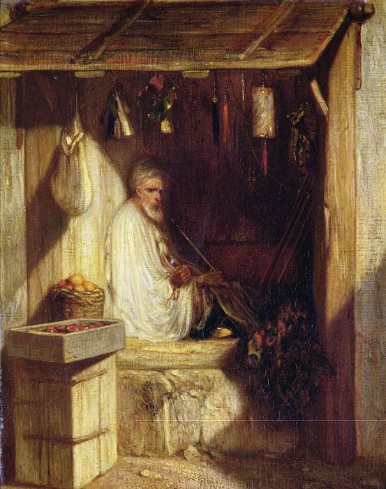Turkish Merchant Smoking in his Shop. Alexandre-Gabriel Decamps