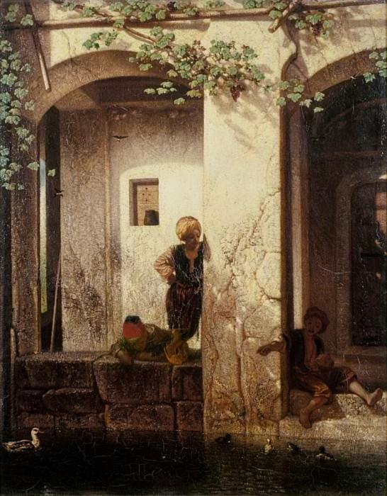 Turkish Kids Close to a Fountain. Alexandre-Gabriel Decamps