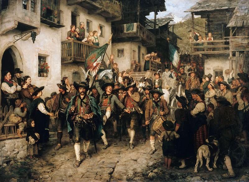 Return of Tyrolean militia in the war of 1809. Franz Von Defregger