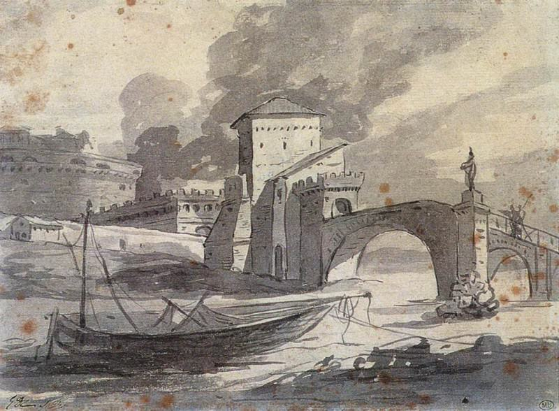 View of the Tiber and Castel St. Angelo. Jacques-Louis David