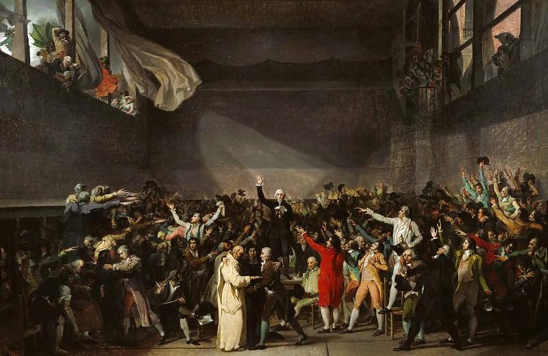 Клятва в зале для игры в мяч 29 июня 1789 года (атр.). Жак-Луи Давид