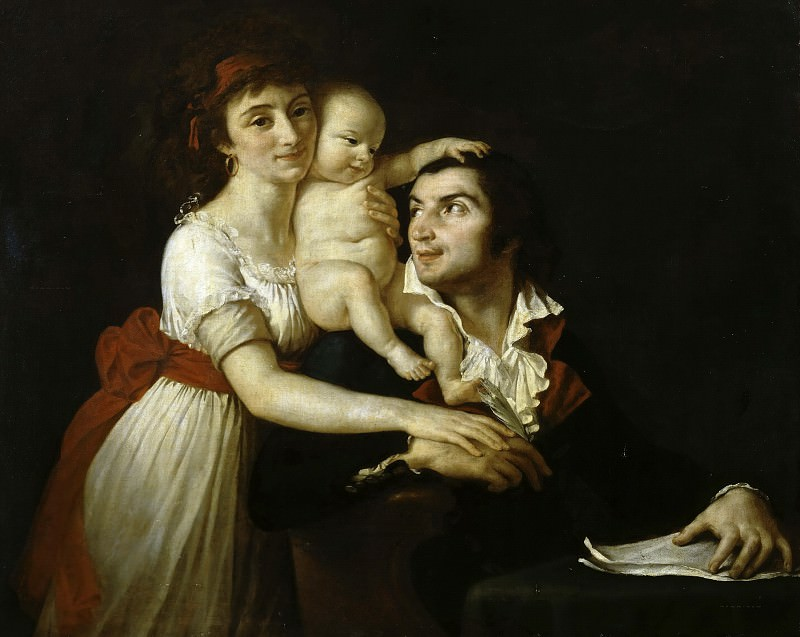 Camille Desmoulins with his family. Jacques-Louis David