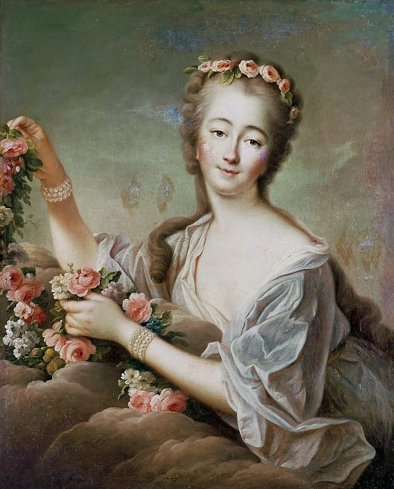 Portrait of the Countess du Barry (1743-1793) as Flora. Francois-Hubert Drouais