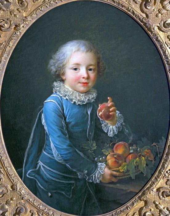 Boy with peaches. Francois-Hubert Drouais