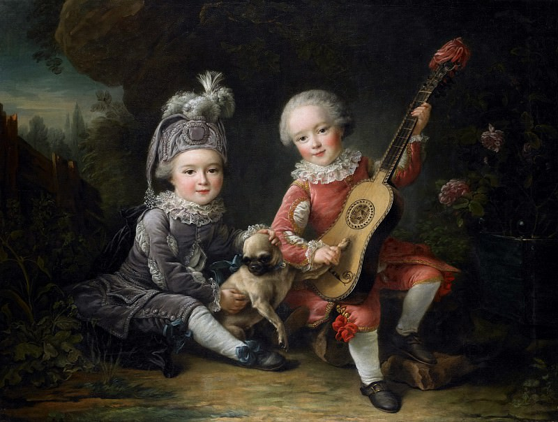 Children of the Marquis de Bethune Playing with a Dog. Francois-Hubert Drouais