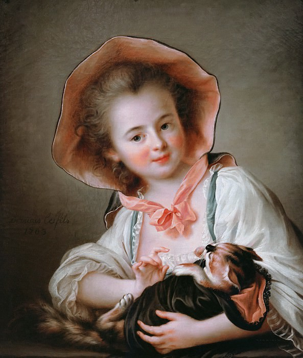 Young girl with a cat playing. Francois-Hubert Drouais