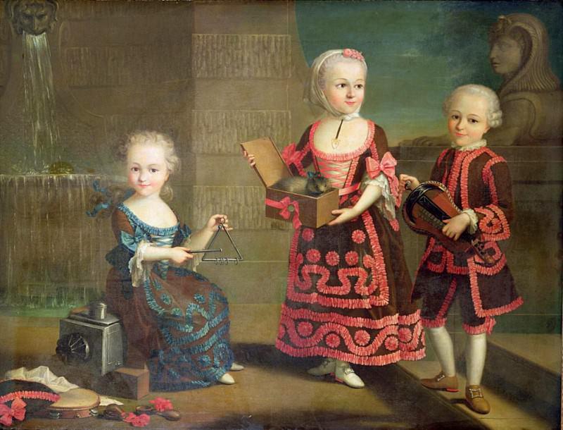 Групповой портрет девочек с мартышкой в коробке. Франсуа-Юбер Друэ