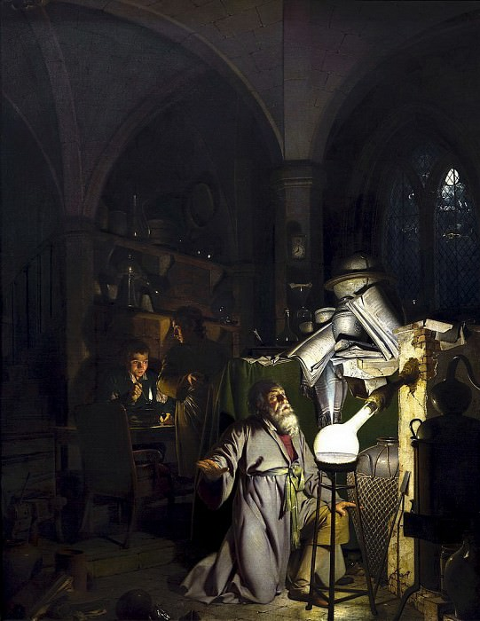 The Alchymist, In Search of the Philosopher's Stone, Discovers Phosphorus, and prays for the successful Conclusion of his operation, as was the custom of the Ancient Chymical Astrologers. Joseph Wright of Derby