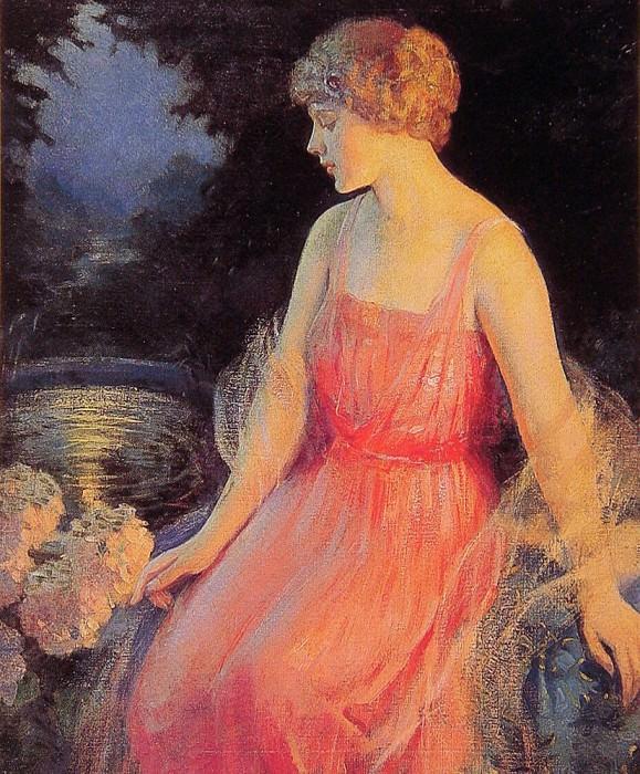 Woman with Hydrangeas. Frank H Desch