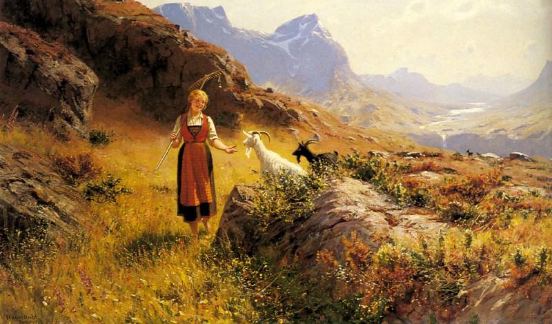 An Alpine Landscape With A Shepherdess And Goals. Hans Dahl