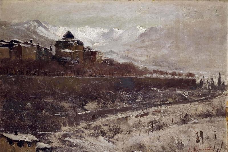 Пейзаж со снегопадом. Франческо Доменигини