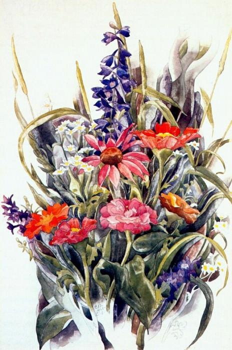 zinnias larkspur and daisies 1928. Charles Demuth