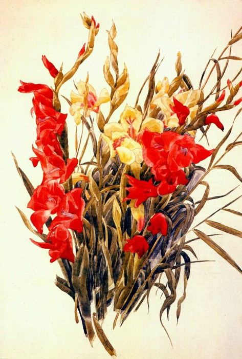 red and yellow gladioli 1928. Charles Demuth