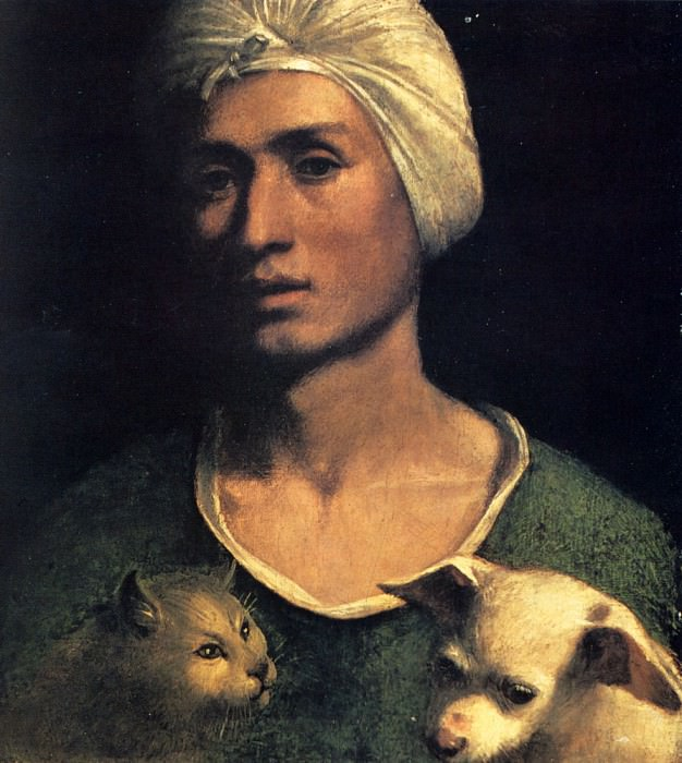 Portrait Of A Young Man With A Dog And A Cat. Dosso Dossi