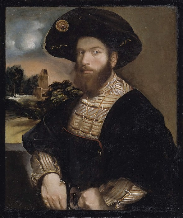 Portrait of a Man Wearing a Black Beret. Dosso Dossi