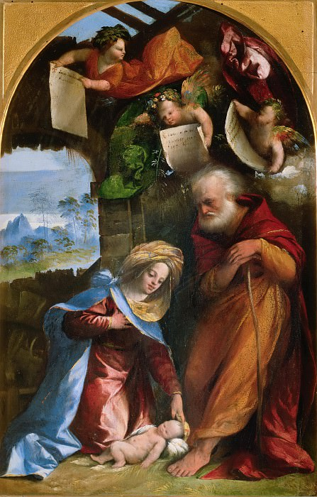 Adoration of the Child. Dosso Dossi