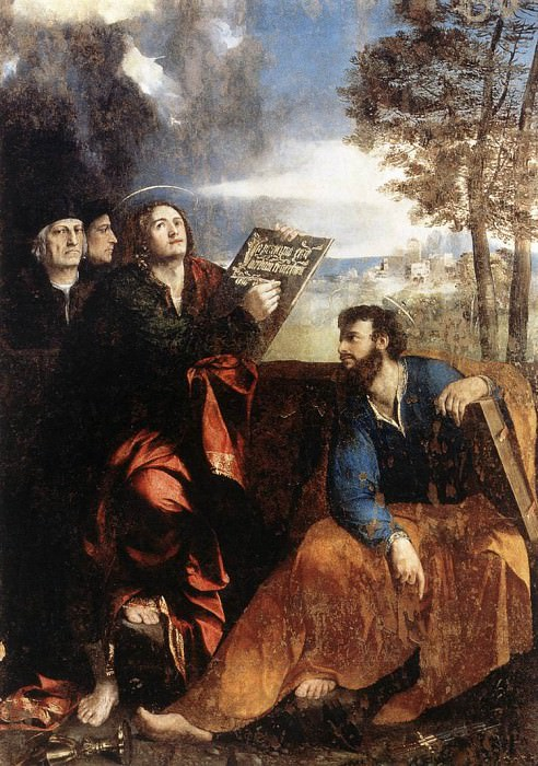 Sts John and Bartholomew with Donors. Dosso Dossi