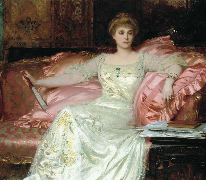 Portrait of Mrs d'Arcy in an opulent interior. Sir Frank Bernard Dicksee