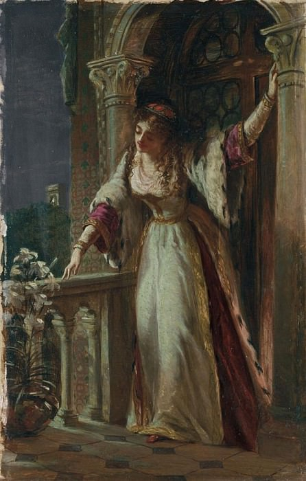 It is I be not afraid - Juliet on her Balcony. Sir Frank Bernard Dicksee