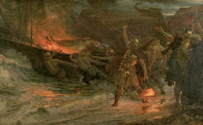 The Funeral of a Viking. Sir Frank Bernard Dicksee