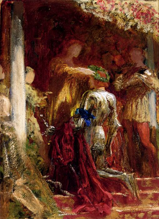 Victory a knight being crowned with a laurel-wreath. Sir Frank Bernard Dicksee
