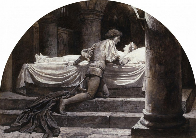 Scenes from Romeo and Juliet: The Tomb (V, III). Sir Frank Bernard Dicksee