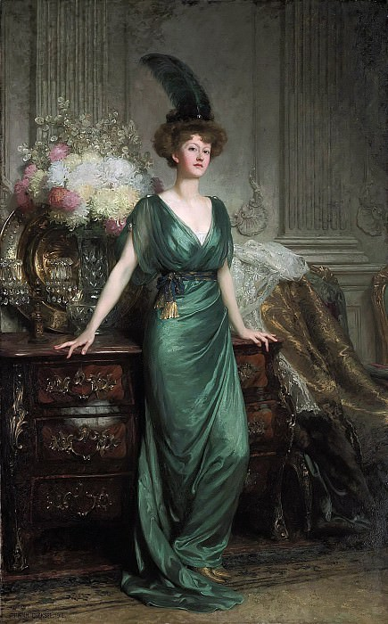 Mrs Ernest Guinness in emerald dress and feather. Sir Frank Bernard Dicksee