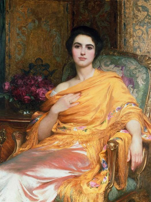 Portrait of Elsa, Daughter of William Hall, three-quarter length, seated wearing a Pink Dress. Sir Frank Bernard Dicksee