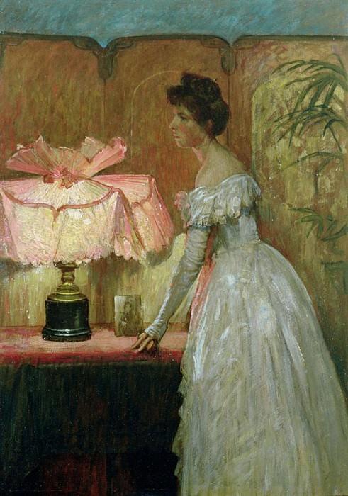 Lamplight Study of Interior with Lady. Sir Frank Bernard Dicksee