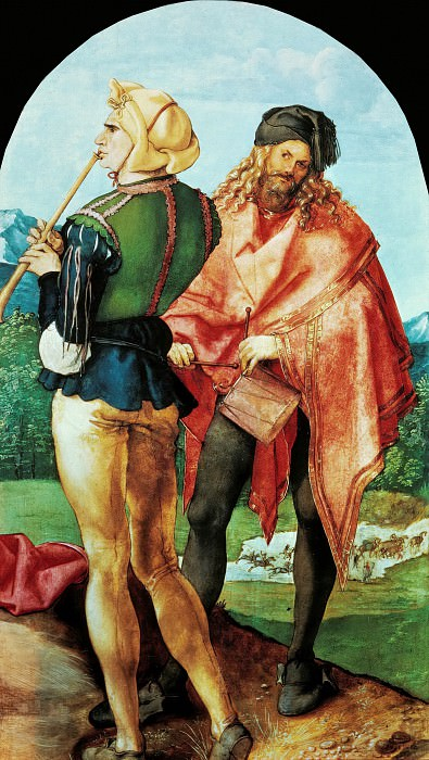 The Jabach Altarpiece - Two Musicians. Albrecht Dürer