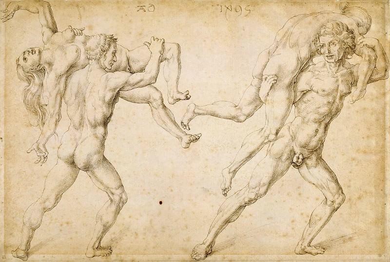 Two nude men carrying two nude women on their shoulders. Albrecht Dürer