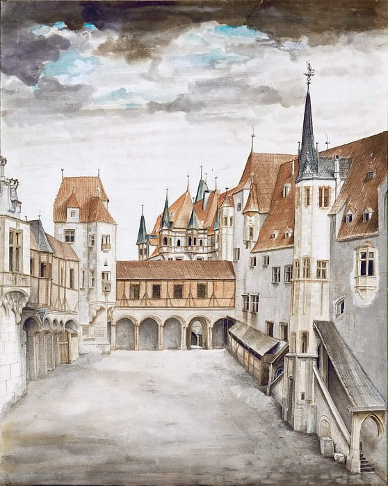 Courtyard of the Former Castle in Innsbruck with Clouds. Albrecht Dürer