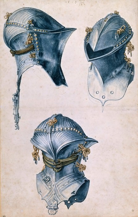 Study of three helmets. Albrecht Dürer