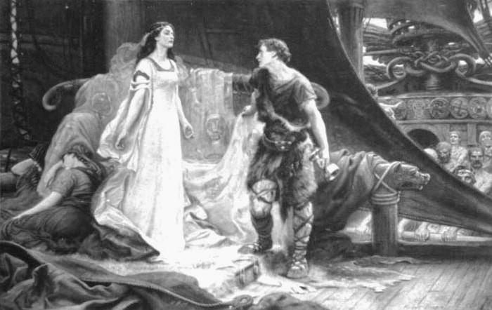 Tristan and Isolde steel engraving. Herbert James Draper