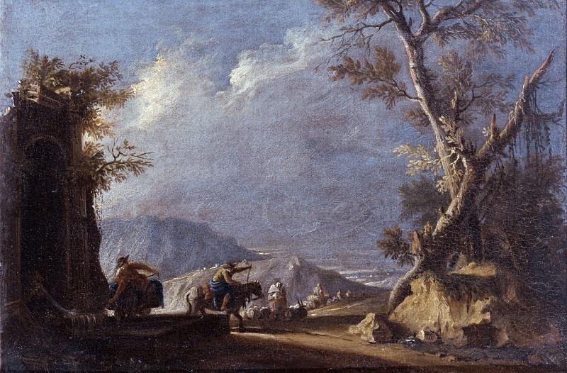 Пейзаж с пастухами у водопоя. Антонио Дициани