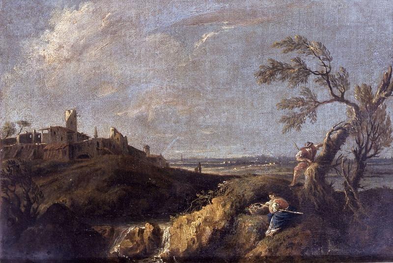 Пейзаж с крестьянами, рекой и деревней. Антонио Дициани