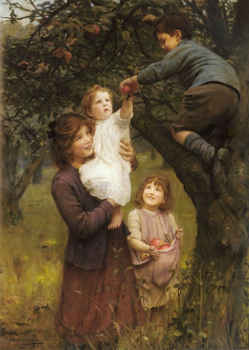 John Picking Apples. Arthur John Elsley