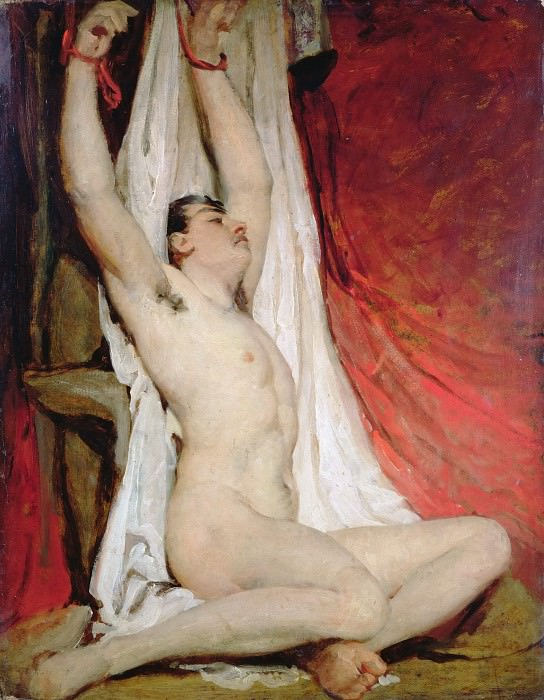 Male Nude, with Arms Up-Stretched. William Etty